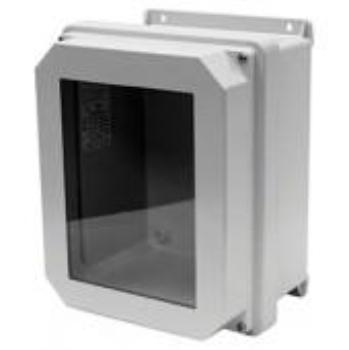 RVJB-NHW Series - Fiberglass Enclosures with Raised Cover and Bonded Window - Includes Non-Metallic Hinges and Stainless Steel Cover Screws image