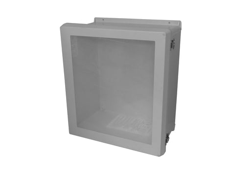 RVJB-HWLL Series - Fiberglass Enclosures with Raised Cover and Bonded Window - Includes Stainless Steel Continuous Hinge and Stainless Steel Latches image
