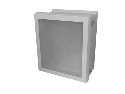 RVJB-HWPL Series - Fiberglass Enclosures with Raised Cover and Bonded Window - Includes Stainless Steel Continuous Hinge and Stainless Steel Padlockable Latches image