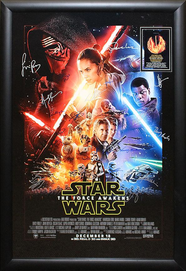 """Star Wars: Force Awakens"" Cast Signed Movie Poster"