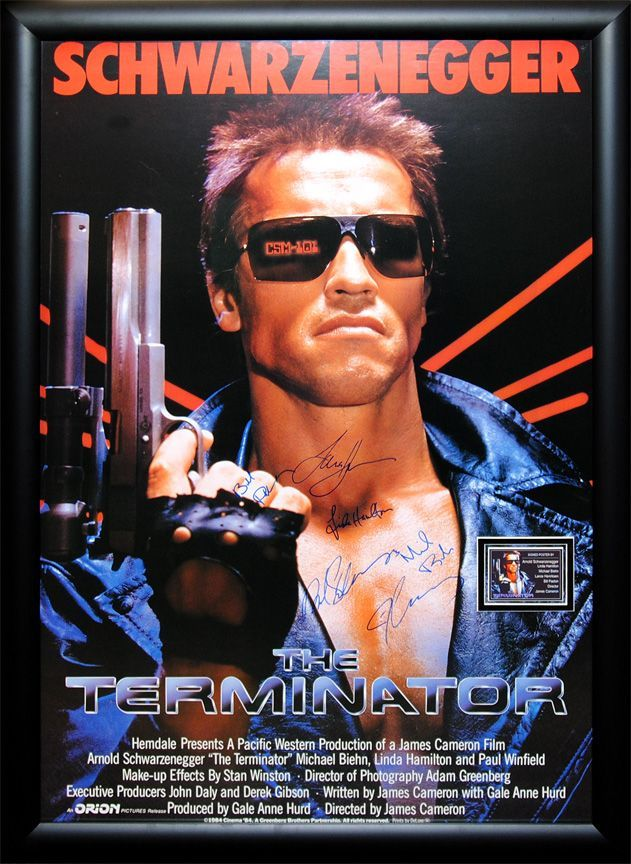 """The Terminator"" signed cast poster"