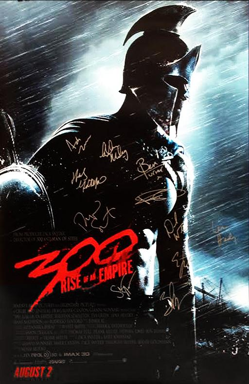 """300: Rise of an Empire"" Cast signed Movie Poster (Unframed)"