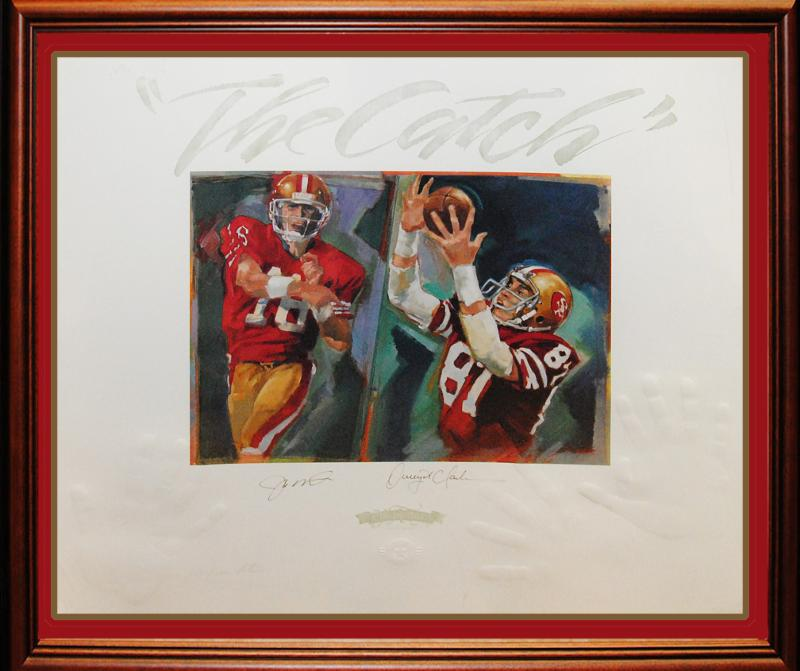 """The Catch"" ""49ers"" Legends Montana/Clark RARE Lithograph"