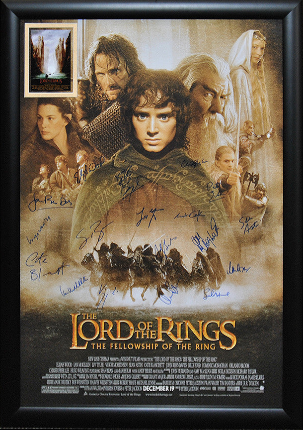 lord of the rings fellowship of the ring signed movie poster