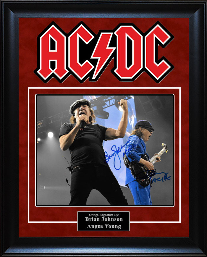 """ACDC"" - Brian Johnson and Angus Young Signed 8x10 Photo"