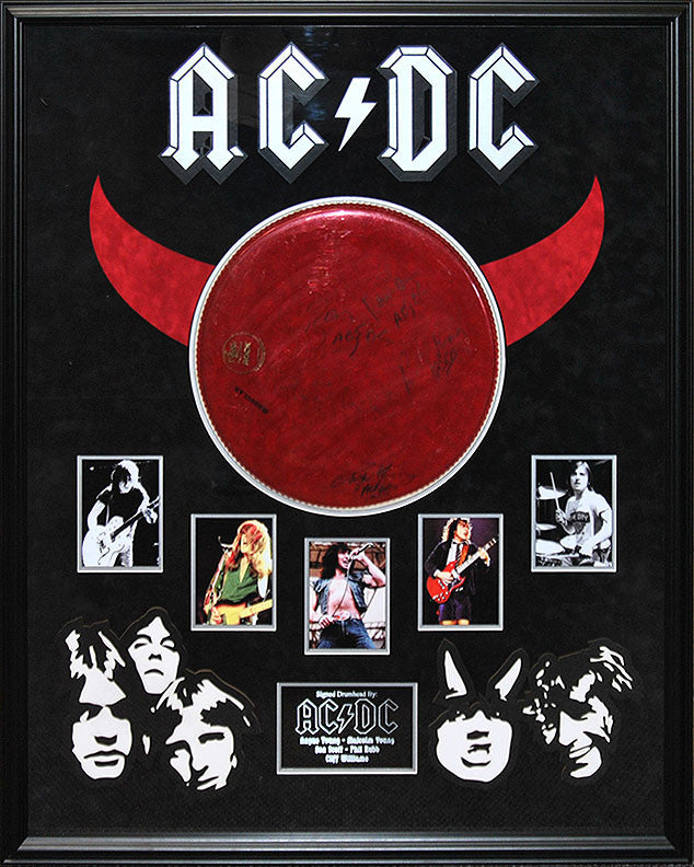 """AC/DC"" Signed Red Drum Head"