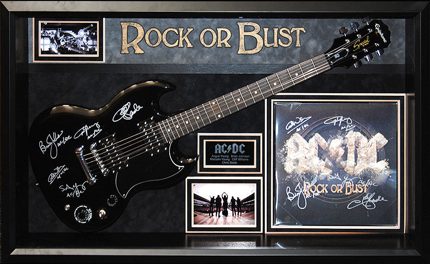 """AC/DC"" - ""Rock or Bust"" Signed Guitar and Album"