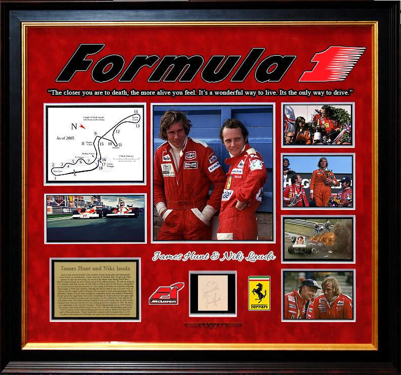 """Formula 1"" Original Signatures of James Hunt & Niki Lauda"