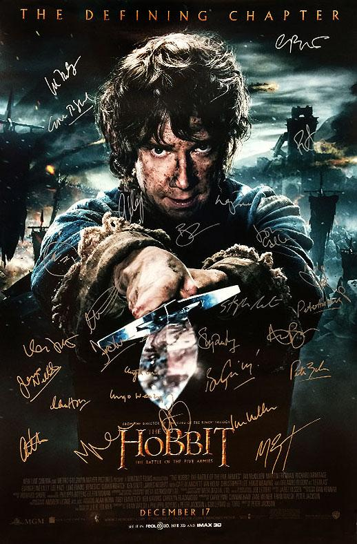 """The Hobbit: The Battle of the Five Armies"" - Cast signed Movie Poster (Unframed)"