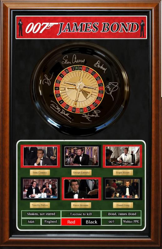 """James Bond"" Signed Mini-Roulette Wheel"