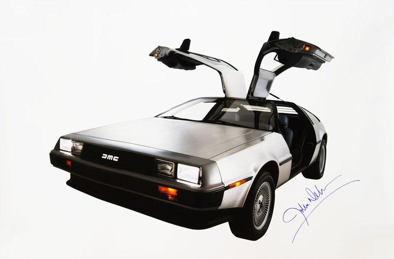 "John DeLorean - RARE signed ""DeLorean"" car poster (Unframed)"