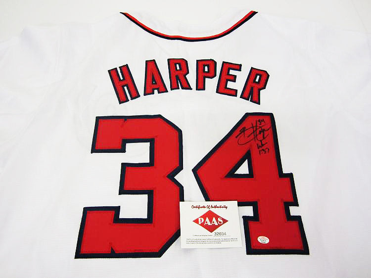 """Washington Nationals"" Bryce Harper signed jersey (unframed)"