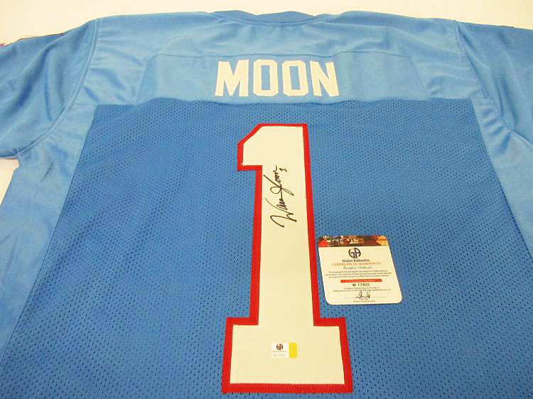 """Houston Oilers"" Warren Moon signed jersey (unframed)"