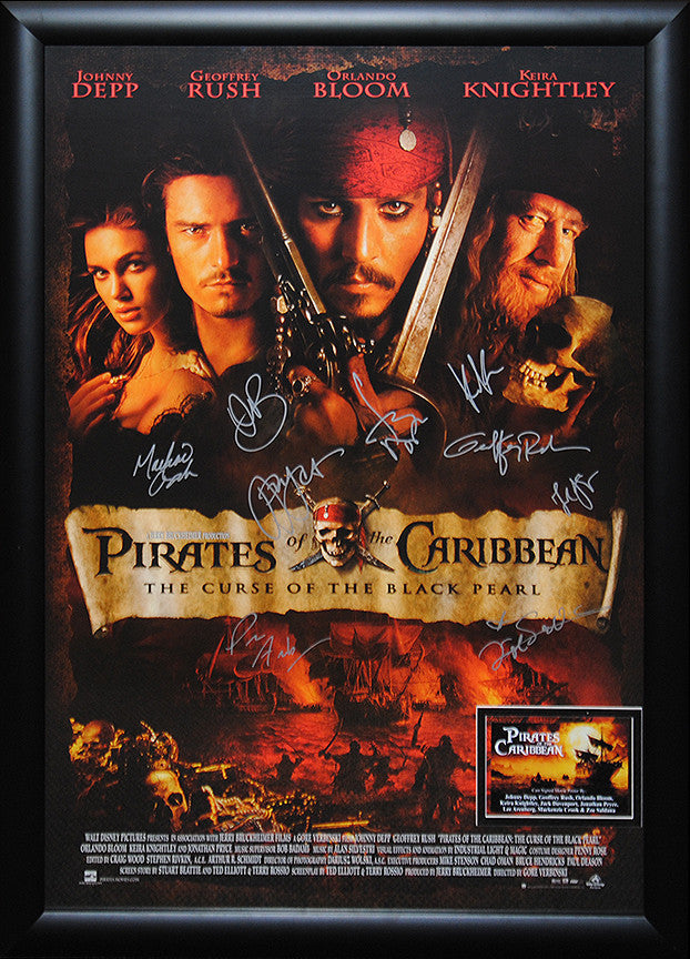"""Pirates of the Caribbean-Curse of the Black Pearl"" Signed Movie Poster"