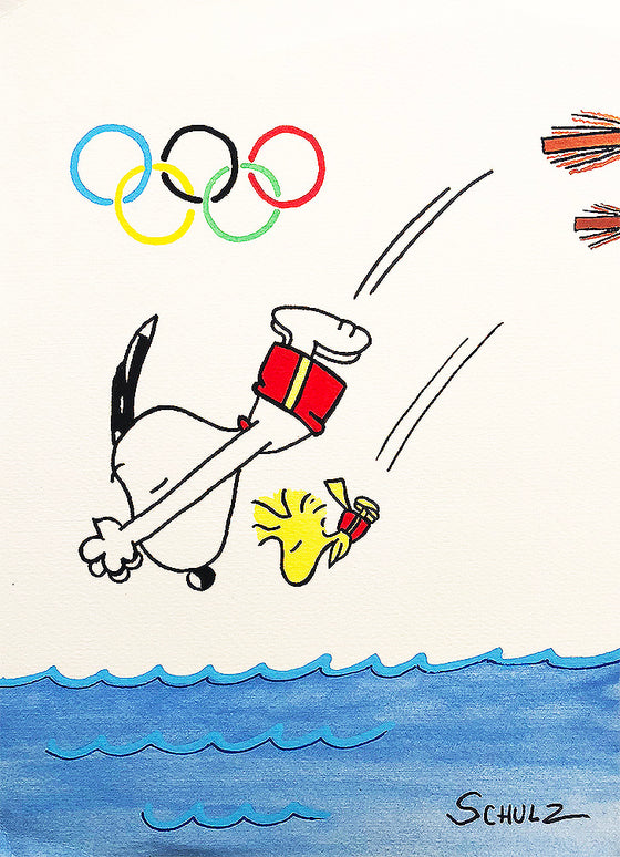 Charles Schulz - ORIGINAL 'Olympic Snoopy/Woodstock' sketch