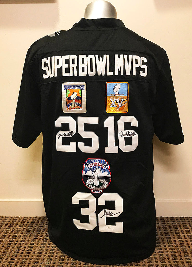 """Oakland Raiders"" SB MVP's custom signed Jersey (unframed)"