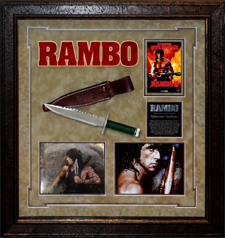 """Rambo"" First Blood Pt. II Signed 8x10 Photo with Replica Survival Knife"