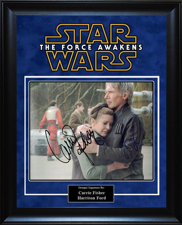 """Star Wars: Force Awakens"" - Harrison Ford and Carrie Fisher Signed 8x10 Photo"
