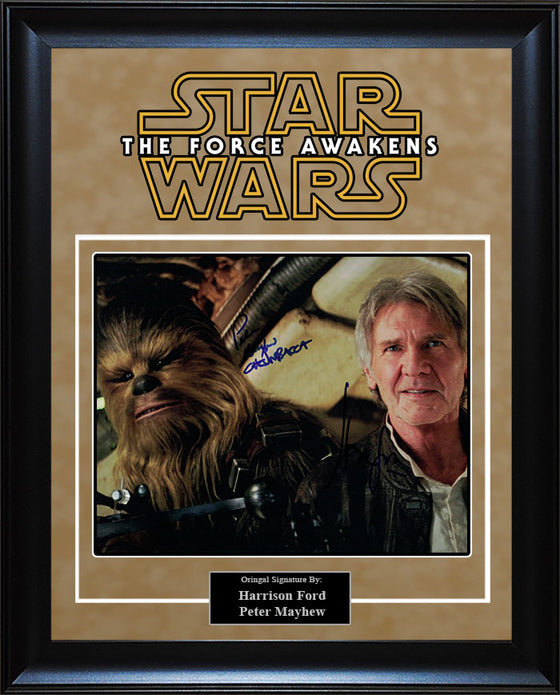"""Star Wars: Force Awakens"" - Harrison Ford and Peter Mayhew Signed 8x10 Photo"