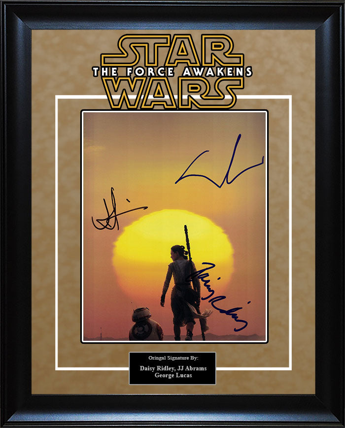 """Star Wars: Force Awakens"" - Daisy Ridley, JJ Abrams and George Lucas Signed 8x10 Photo"