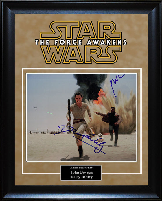 """Star Wars: Force Awakens"" - John Boyega and Daisy Ridley Signed 8x10 Photo"