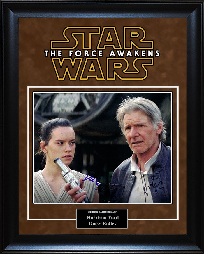 """Star Wars: Force Awakens"" - Harrison Ford and Daisy Ridley Signed 8x10 Photo"