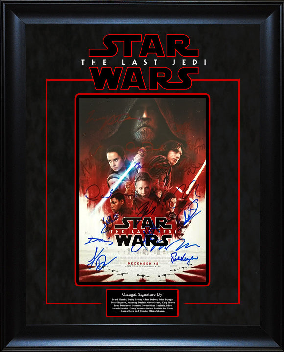 """Star Wars: The Last Jedi"" cast signed 11x14 movie poster photo"
