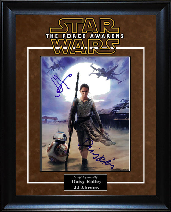 """Star Wars: Force Awakens"" - Daisy Ridley and JJ Abrams Signed 8x10 Photo"