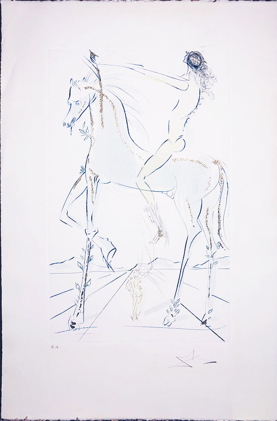 Salvador Dali - HAND-FINISHED 'Nude Rider on Horse' SIGNED