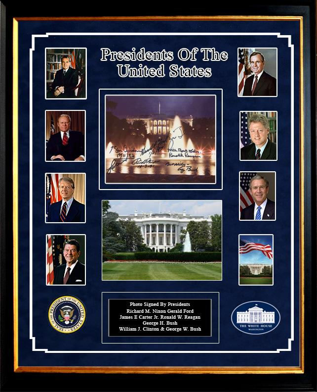 U.S. Presidents Signed White House 8x10 by 7 Former Presidents