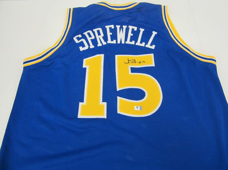 """Golden State Warriors"" Latrell Sprewell signed jersey (unframed)"