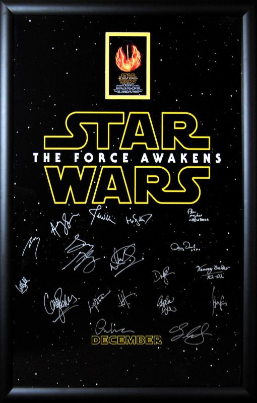 """Star Wars: Force Awakens"" Cast Signed Movie Poster (Title Logo)"