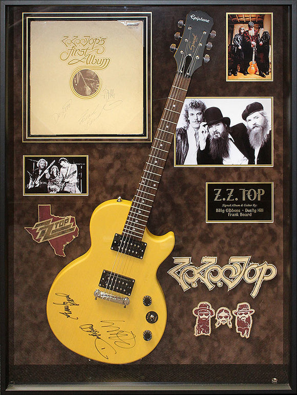 """ZZ Top"" - Signed Mustard SG Guitar and Debut Album"
