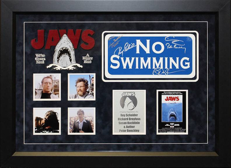 """Jaws"" Cast signed ""No Swimming"" sign"