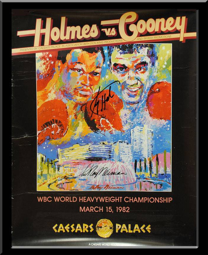 Heavyweight Champ Larry Holmes/Artist Leroy Neiman Signed Poster
