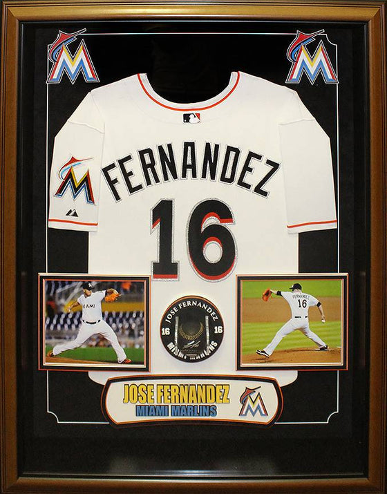 """Miami Marlins"" Jose Fernandez Signed black baseball w/jersey"