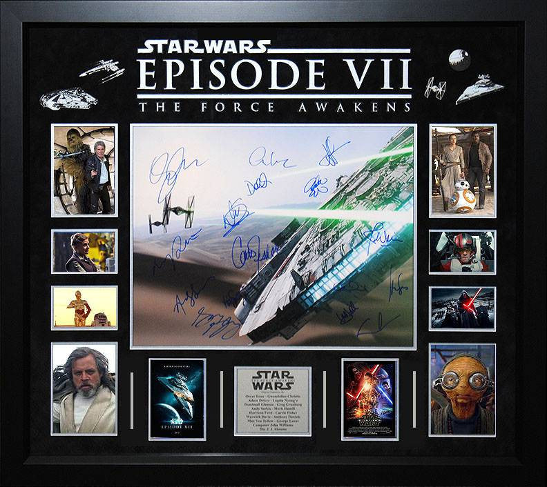 """Star Wars: Force Awakens"" Cast signed 16x20 collage"