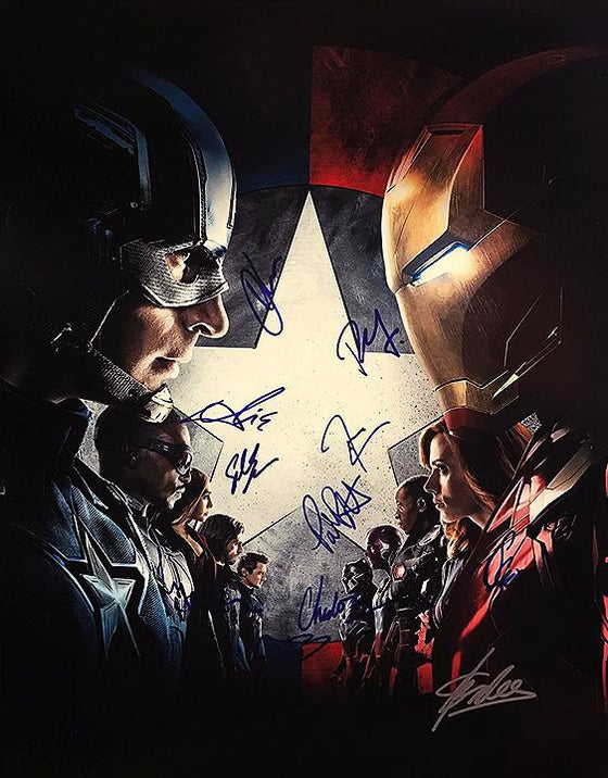 """Captain America: Civil War"" Cast signed 16x20 Photo (Unframed)"