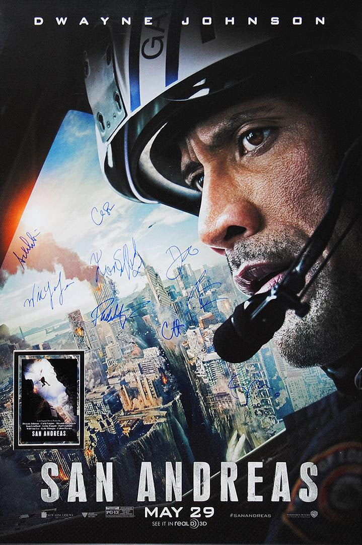 """San Andreas"" - Cast Signed Movie Poster (Unframed) (Option 1)"
