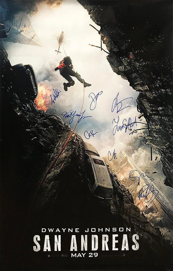 """San Andreas"" - Cast Signed Movie Poster (Unframed) (Option 2)"