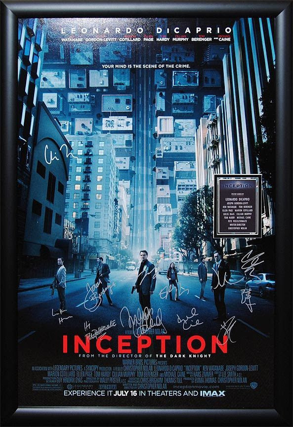 """Inception"" Signed Movie Poster"