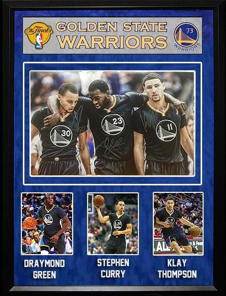 """Golden State Warriors""  Trio signed 12x18 Photo"
