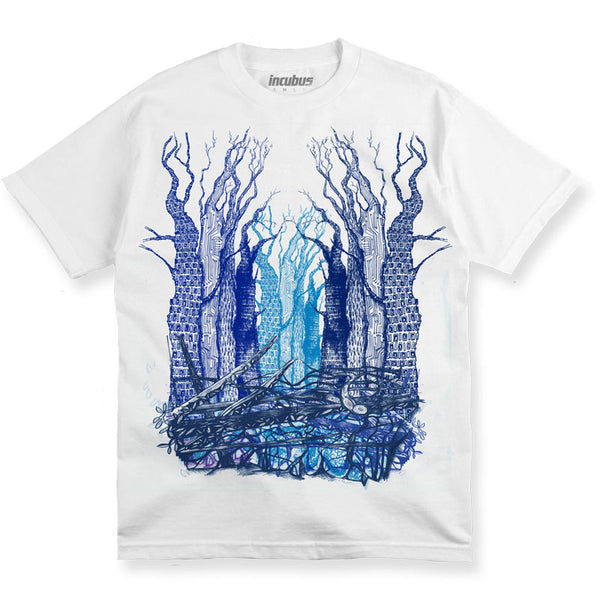 DIGITAL FOREST (BLUE TREE) WHITE T-SHIRT