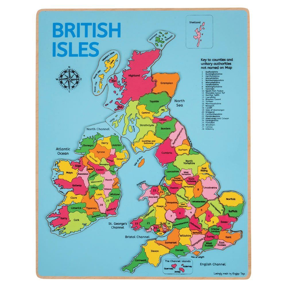 Wooden British Isles and Ireland Inset Puzzle