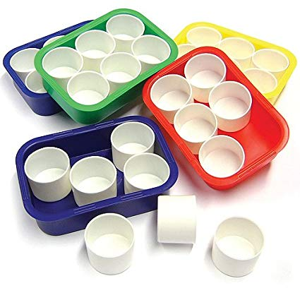 Six Paint Pots & Tray