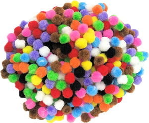 Assorted Coloured 2cm Pom Poms pk180
