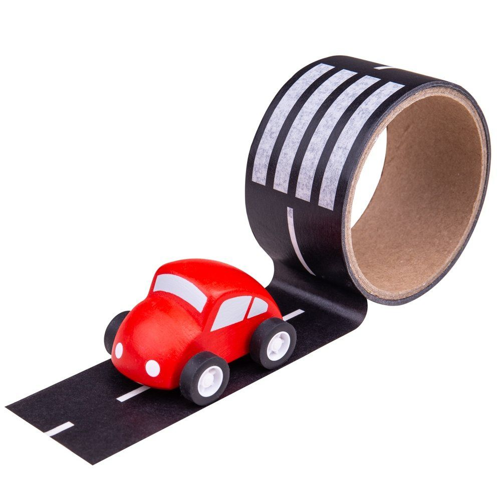 Road Way Tape & Wooden Car