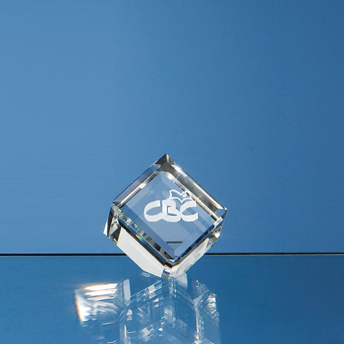 Personalised 4cm Optical Crystal Bevel Edged Cube