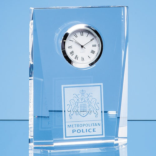 Personalised 11.5cm Optical Crystal Bevelled Rectangle Clock