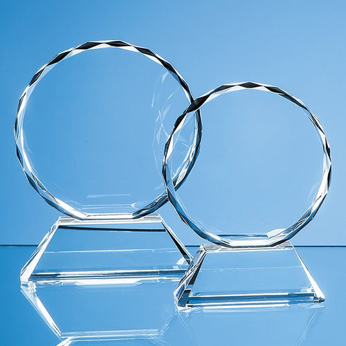 Personalised 13cm Optical Crystal Mounted Facet Circle Award